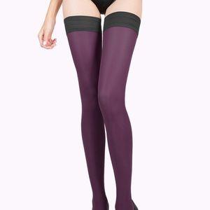Purple stockings, thigh highs